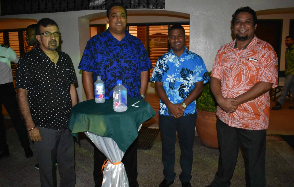 From Left: Lawyer Ami Kohli, Fiji Link general manager Athil Narayan, Labasa Football Association secretary Varun Anand and general manager sales and marketing Fiji and the South Pacific Robert Rounds during the Fiji Link third birthday cocktail function at  Eastern Hotel in Labasa last night. Photo:SHRATIKA NAIDU
