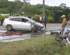 Accident Lands Car In Drain