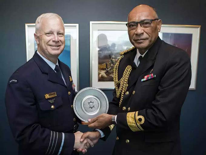 Australian Chief of the Defence Force Air Chief Marshal Mark Binskin (left) with the RFMF Commander Rear-Admiral Viliame Naupoto. Photo: ADF