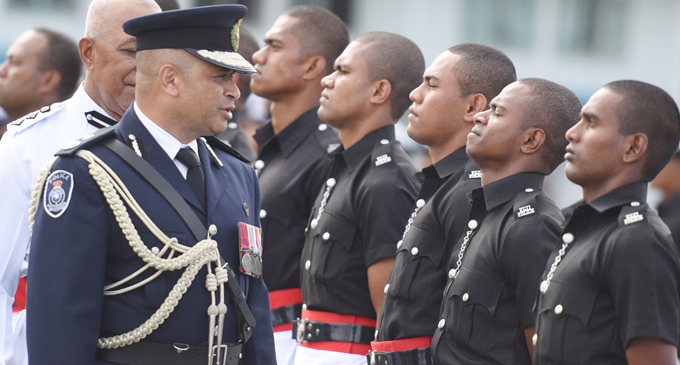 Police Commissioner Brigadier-General Sitiveni Qiliho addressing one of the Police recruits during the Fiji Police Force passing-out parade at Nasova, Suva, on June 28, 2017. Photo: Ronald Kumar