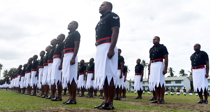 Part of the Fiji Police Force passing-out parade at Nasova, Suva, on June 28, 2017. Photo: Ronald Kumar