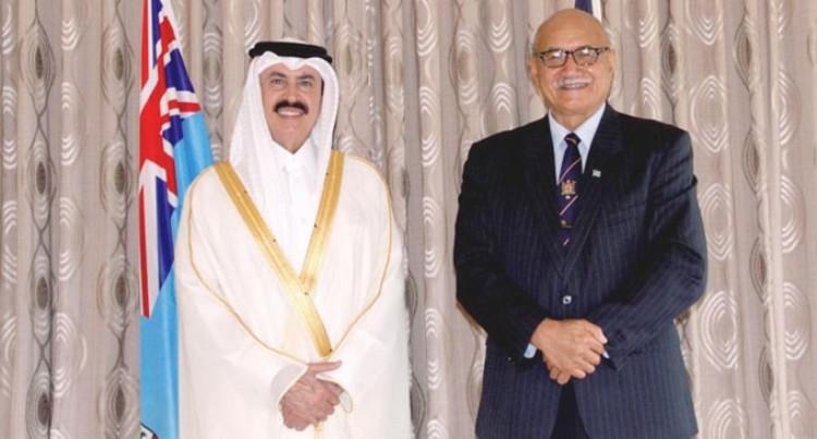 President Meets  Non-resident Qatar Ambassador