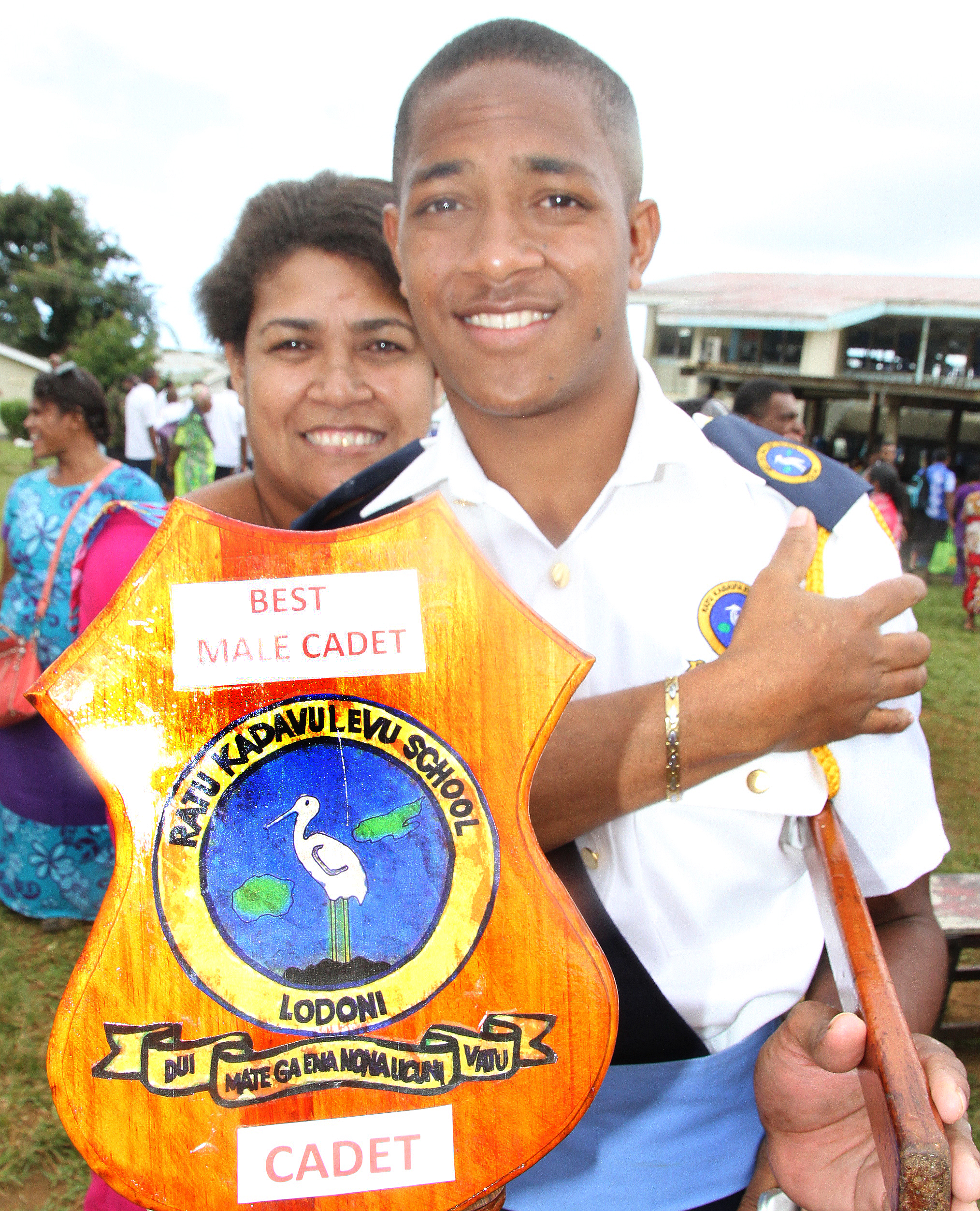 Ratu Kadavulevu School Cadet Passout Parade Best Male Cadet recipient, Luke Tamanalevu with his mother, Esiteri Delai at Lodoni, Tailevu on June 16, 2017. Photo: Ronald Kumar.