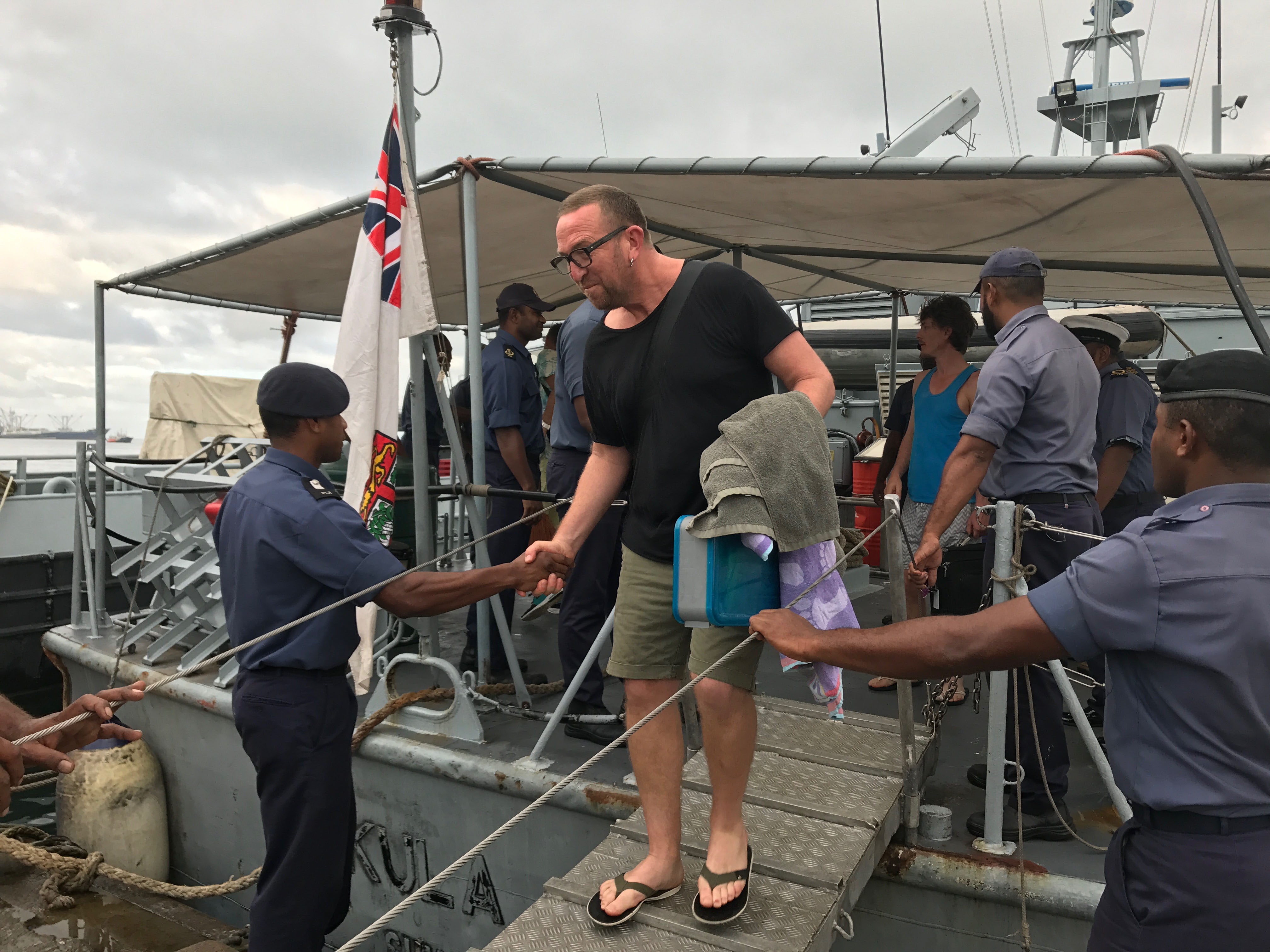 Roger Young who owned the Havana Brothers, the Havana Bar and the famous Wellington Cafe Fidel's thanking the crew of RFNS Kula on the 25th June 2017. Photo: Roneel Karthik
