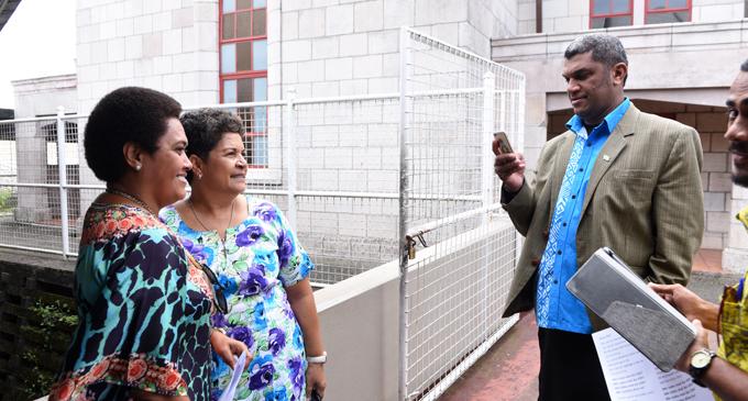 Sodelpa MP Asaeli Radrodro takes a picture of his wife Sainiana and Emily Lalabalavu, wife of party president Ratu Naiqama Lalabalavu on June 30, 2017. Photo: Jone Luvenitoga