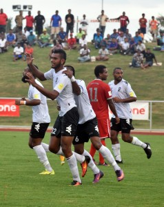 Vodafone Fijians Saula Waqa celebrates for scoring the first goal against New Caledonia during the FIFA World Cup Russia™ Qualifiers – OFC Stage 3 at Churchill Park in Lautoka yesterday. Photo: Waisea Nasokia