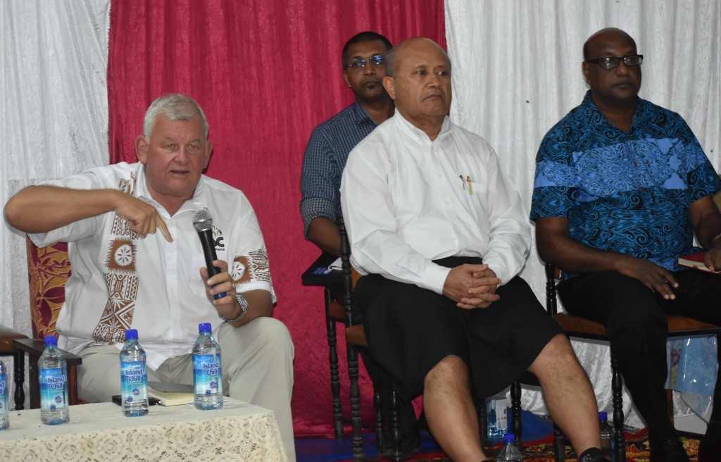 Fiji Sugar Corporation chief executive officer Graham Clark (left) explaining about railway system during a talanoa session at Waiqele College last night (May 31). Photo:JOSAIA RALAGO