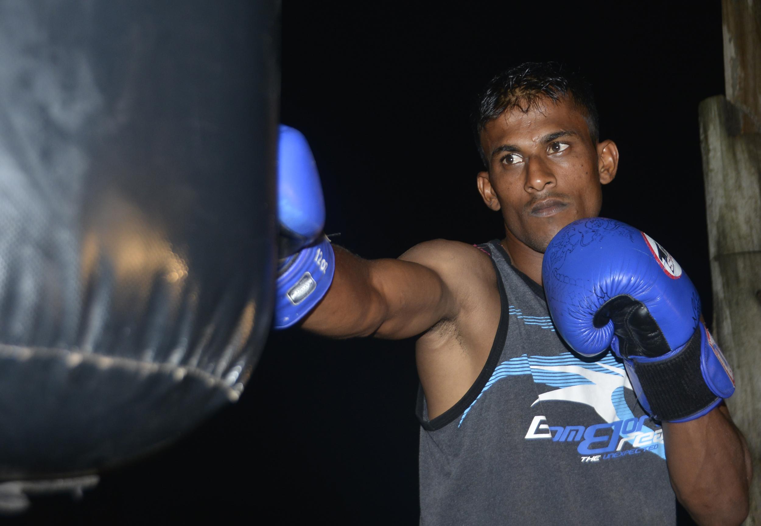 Shamal Ramanuj during training at Mulomulo boxing club in Nadi last night. Photo: WAISEA NASOKIA