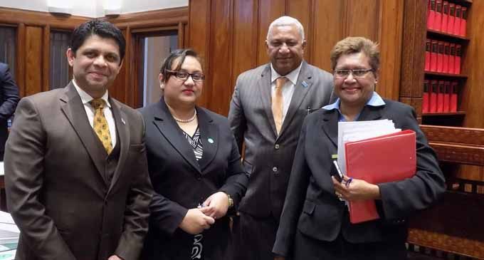 From left: Attorney-General and Minister for Economy Aiyaz Sayed-Khaiyum, Deputy Secretary-General to Parliament Jeanette Terubea-Emberson, Prime Minister Voreqe Bainimara and Secretary-General to Parliament