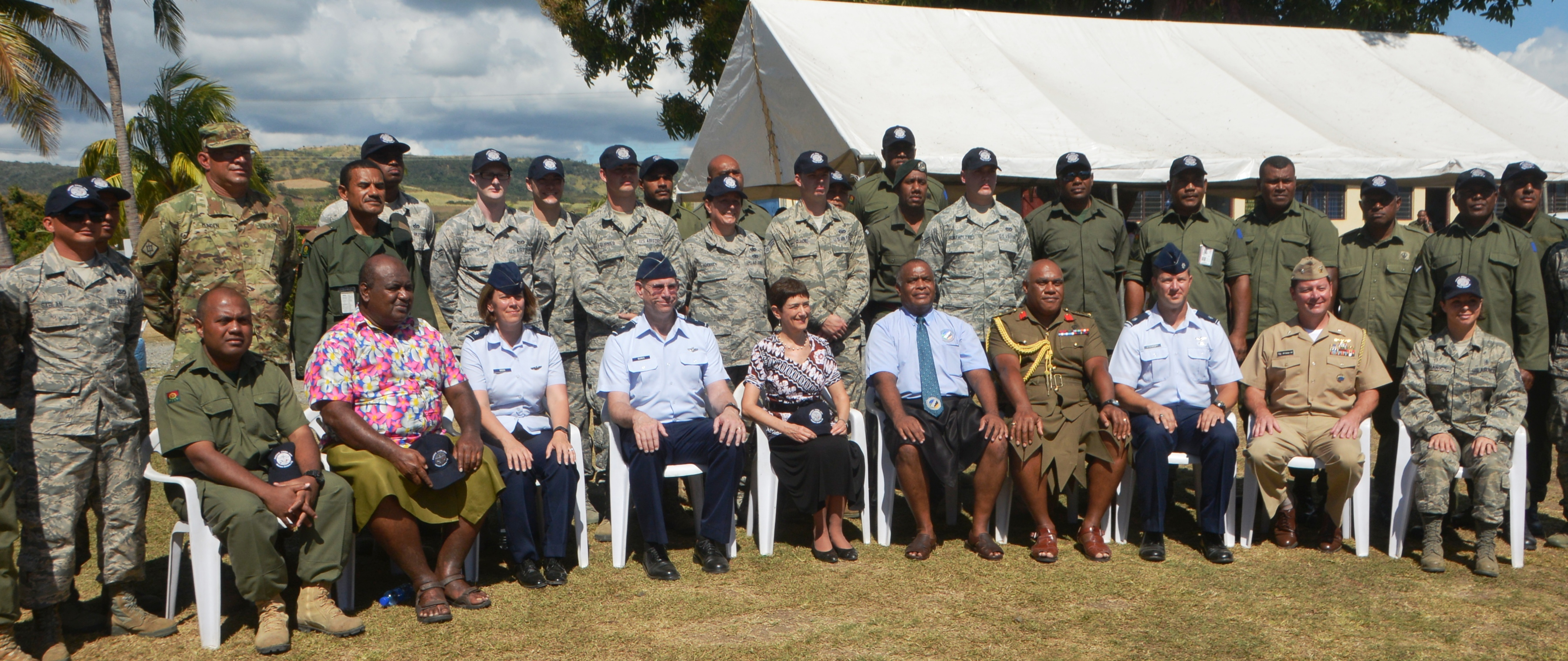 Fourth from left are: Brigadier-General William Burks, US Ambassador Judith Cefkin, Commissioner Western Manasa Tagicakibau, Colonel Onisivoro Covunisaqa with officials and military personnel of PACANGEL on July 24, 2017. Photo: Charles Chambers