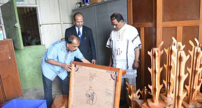 Monfort Superior General Brother John Kallarackal (centre), sees the students and staff handiwork at Montfort Boys Town on July 25, 2017. Photo: Lusiana Tuimaisala