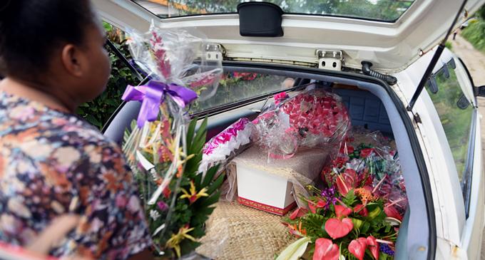 Agnes Fleur Louise Tuiloma's coffin inside the hearse on June 6, 2017. Photo: Vilimoni Vaganalau