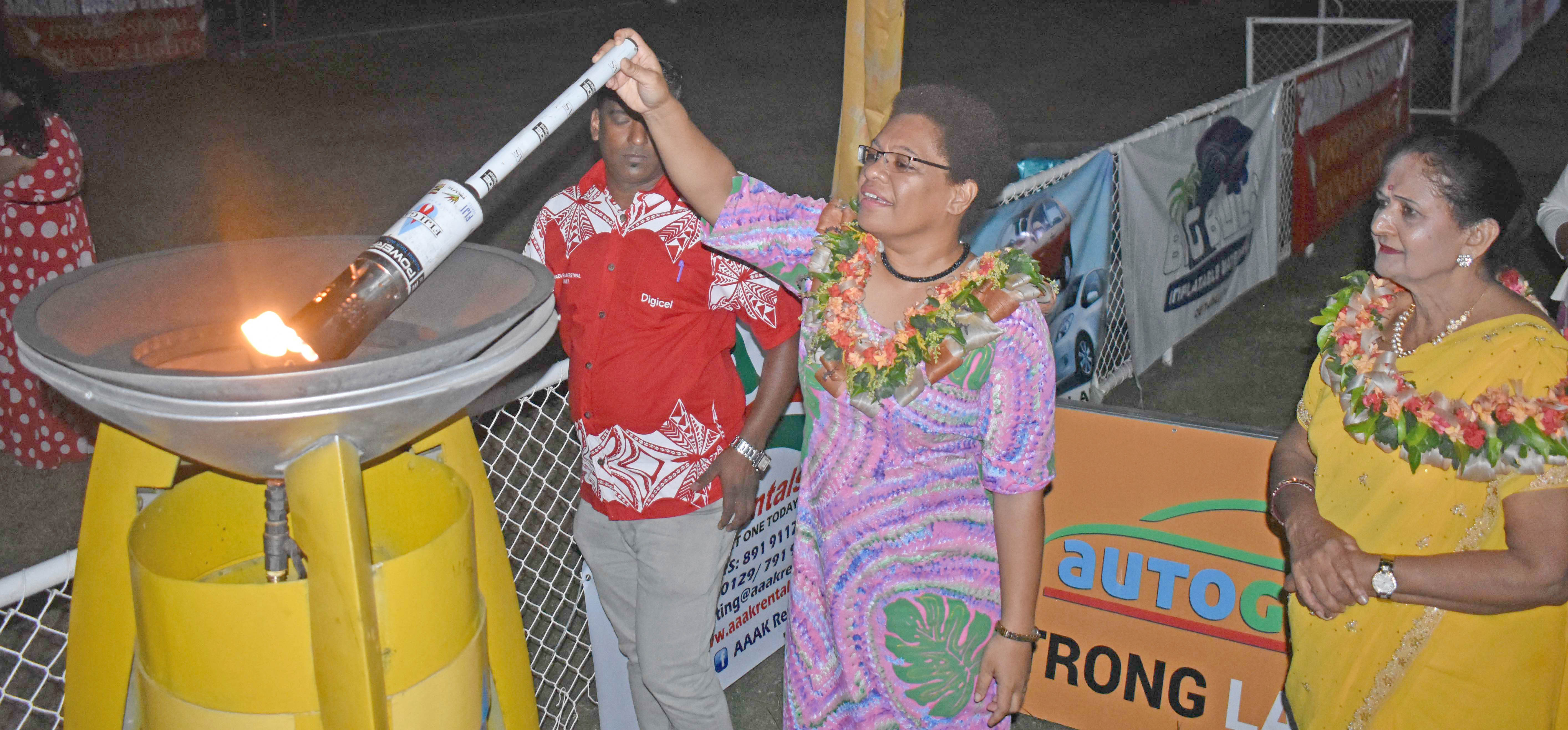 Minister for Women, Children and Poverty Alleviation Mereseini Vuniwaqa at the opening of the Digicel Nadi Bula Festival at the Prince Charles Park in Nadi yesterday. Photo: WAISEA NASOKIA