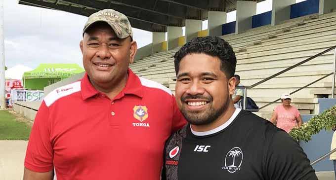 Former Tongan and Suva rugby captain Isi Fatani with Vodafone Flying Fijians prop Campese Ma'afu at Nuku'alofa on July 7, 2017. Photo: Atama Tamanilo