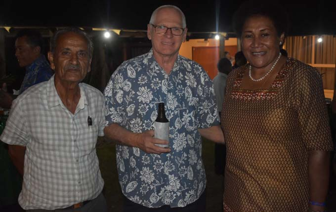 Retired Agriculturist Sant Kumar, Co Yo Director Henry Gosling and Fiji Agro Marketing Mere Salusalu. Photo: WAISEA NASOKIA