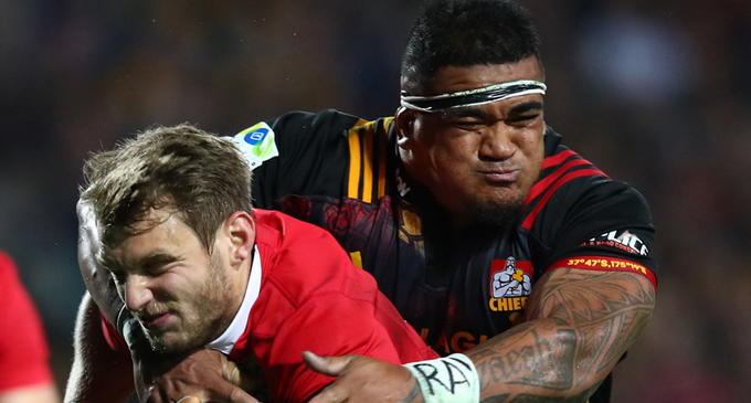 Chiefs prop  Siegfried Fisi'ihoi makes a tackle against the British and Irish Lions.