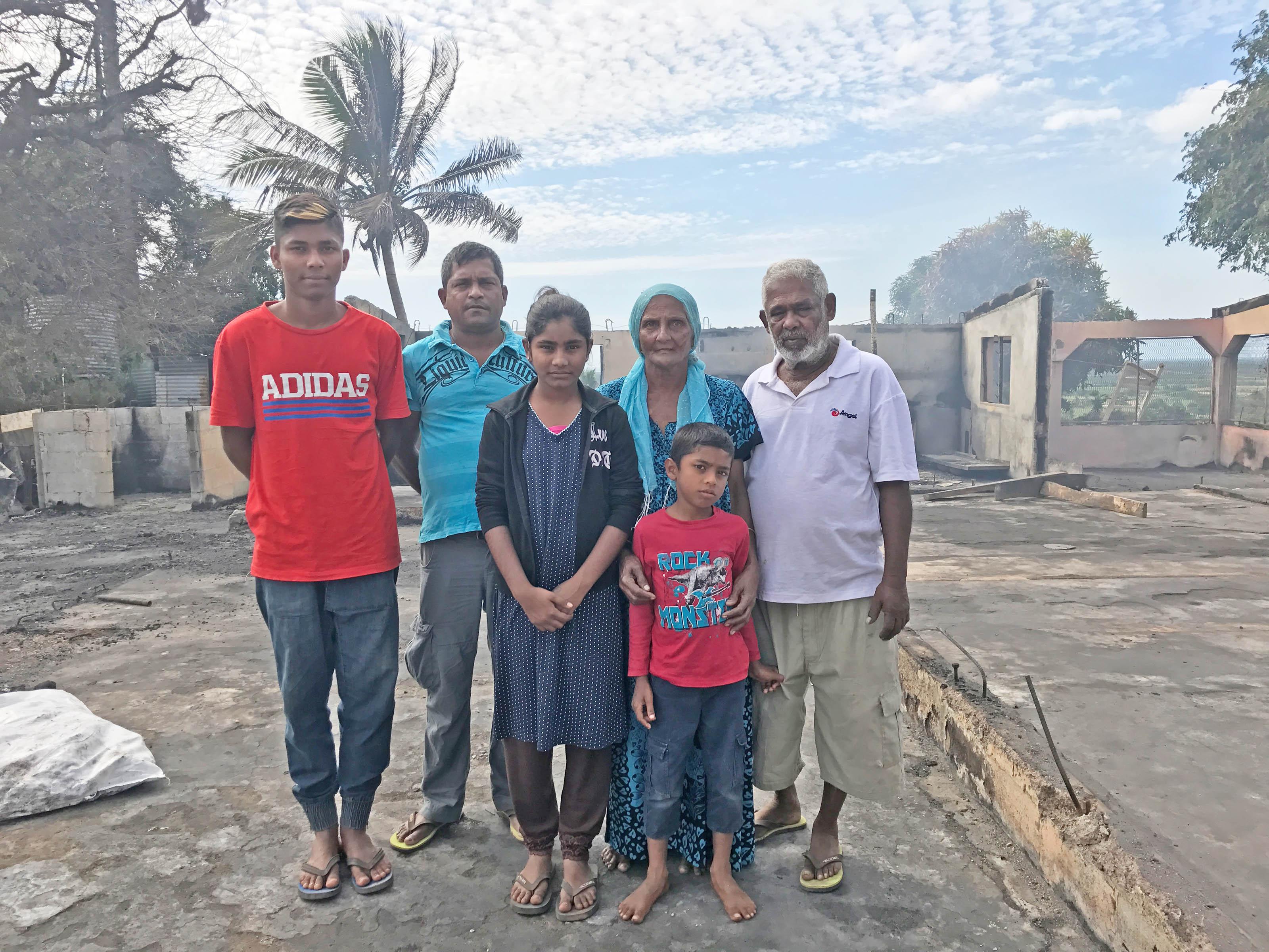 From left: Mohammed Zamir, Mohammed Sahim, Nazila Begum, Mohammed Shafil, Halima Bibi and Abu Bakar in Sarava, Ba, on July 2, 2017. Photo: Anasilini Ratuva