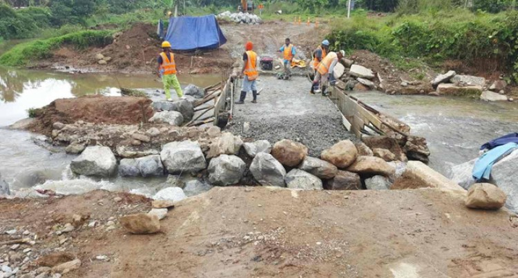 Fiji Roads Authority Fixing Damaged Crossing