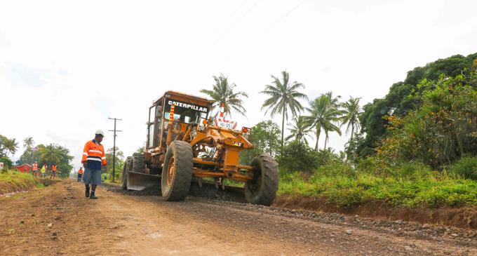 Fulton Hogan Hiways workers upgrade the Visama Road in Nakelo. Photo: Fulton Hogan Hiways
