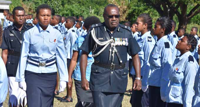 Chief of Operations Assistant Commissioner of Police, Rusiate Tudravu, during the passing-out parade at Nabala Secondary School on July 6, 2017. Photo: Peni Drauna