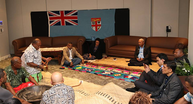 Prime Minister Voreqe Bainimarama and the Fijian delegation during the traditional welcome ceremony in Brisbane, Australia, on July 18, 2017. Photo: DEPTFO News
