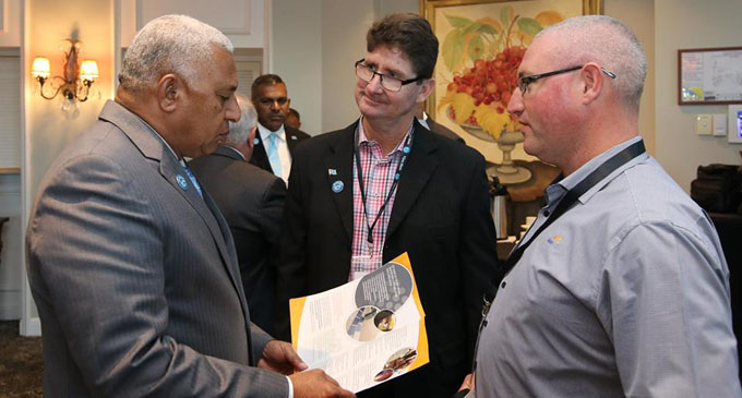 Prime Minister Voreqe Bainimarama with delegates at the Fiji-Queensland Trade and Investment Symposium in Brisbane on July 20,2017. DEPTFO