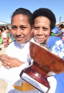 Ratu Sir Lala Sukuna Memorial School headgirl and and Best Female Cadet, Aritima Rodan with her mother, Kasaia Wati. Photo: Ronald Kumar