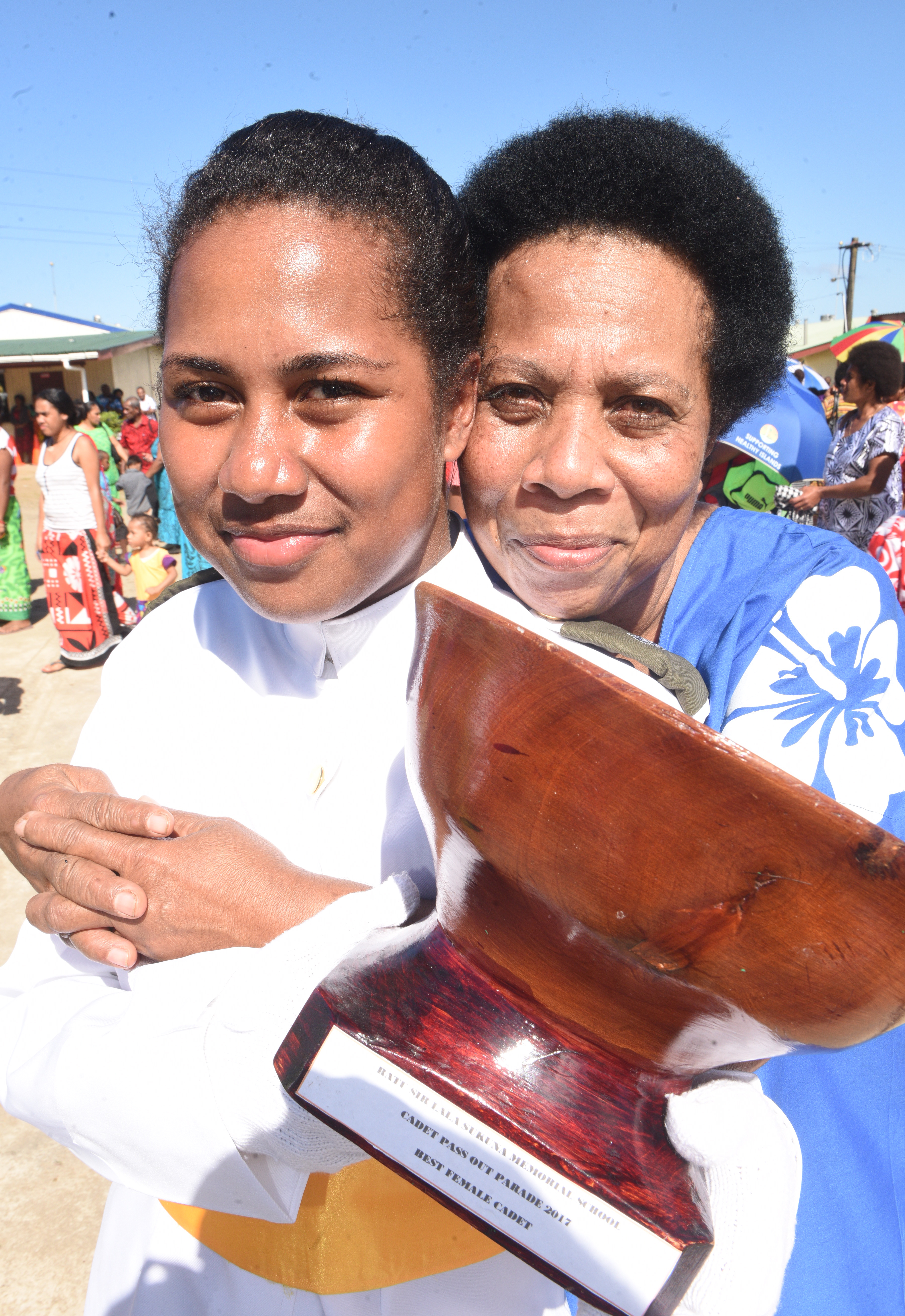 Ratu Sir Lala Sukuna Memorial School headgirl and and Best Female Cadet, Aritima Rodan with her mother, Kasaia Wati. Photo: Ronald Kumar