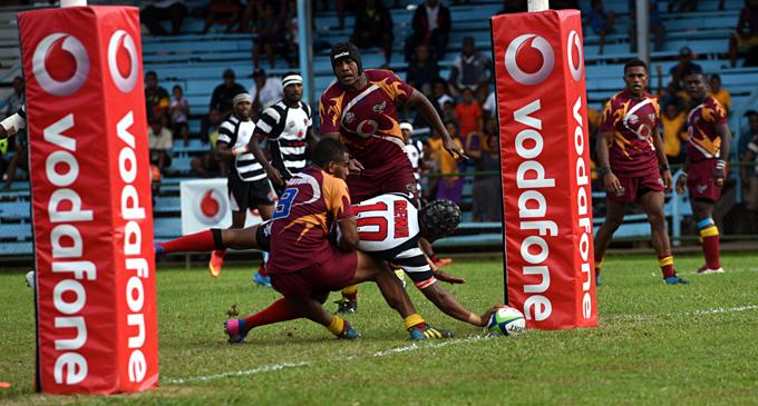 Alivereti Veitokani scores for Rewa at Ratu Cakobau Park, Nausori on June 7, 2017. Photo: Vilimoni Vaganalau