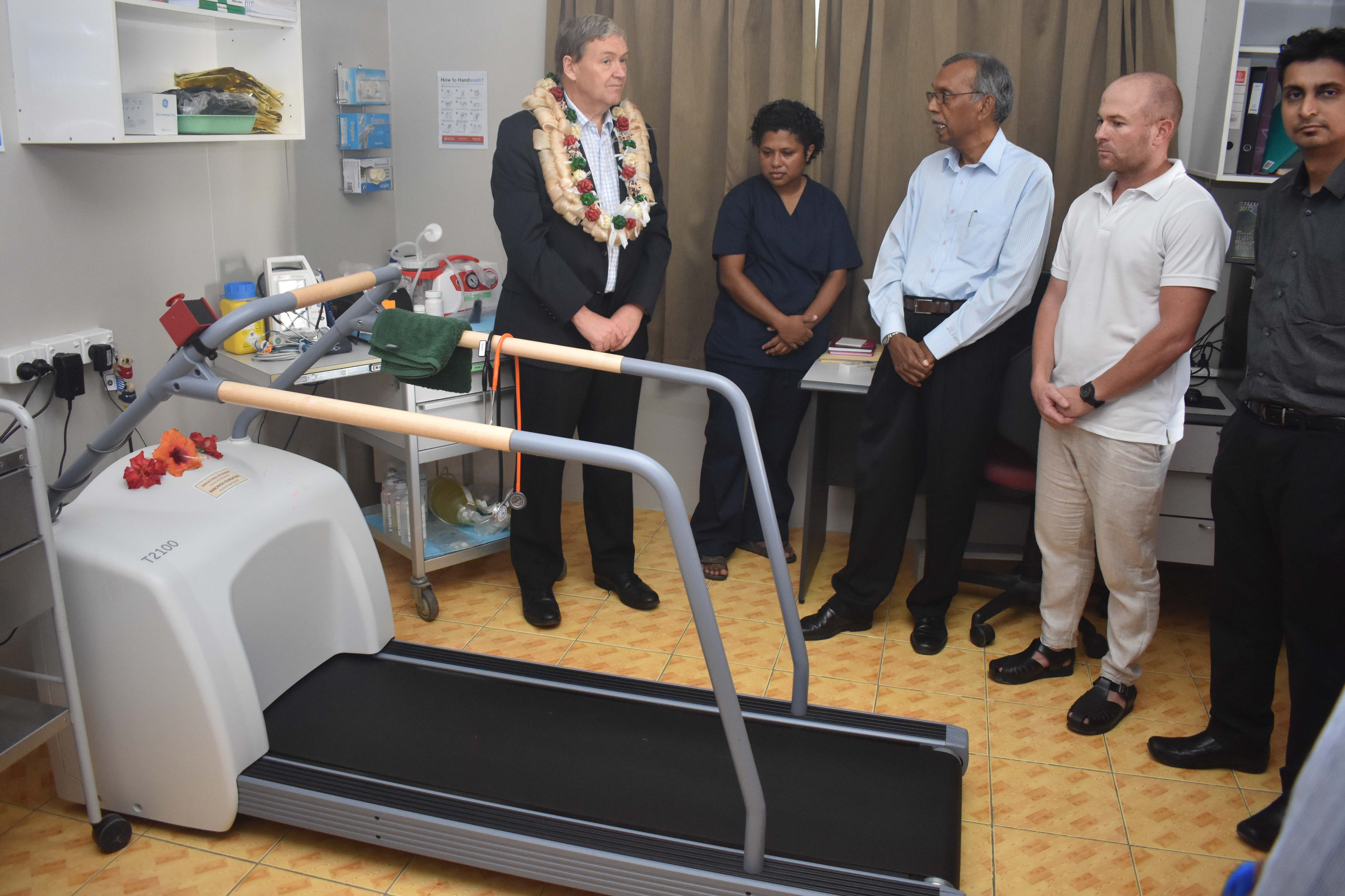 Ministry of Health and Medical Services Permanent Secretary Philip Davis (with garland) at the Sarada Medical Centre, Ashram Road, in Nadi on July 19, 2017. Photo: Waisea Nasokia