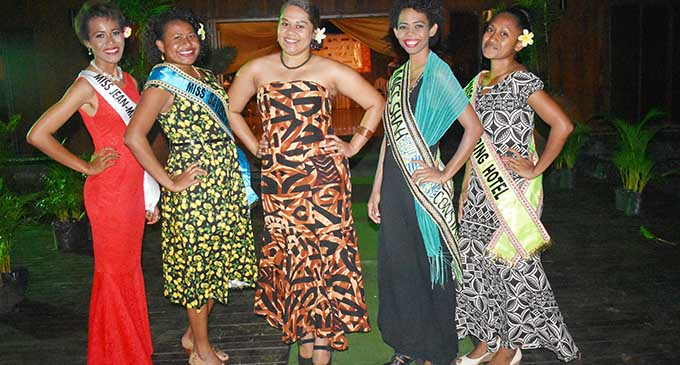 The Vodafone Miss Savusavu Carnival 2017 Queens (from left) Ms Jean-Michael Cousteau Resort Ofaine Maiyaroi, Ms Puiblic Service Commission Ms Losalini Baikeirewa, Ms Public Service Commission Evelyn Simpson, Ms Shah Construction Group of Companies and Ms Hot Springs Hotel Kirisitiana Uluwai at the launching on Monday night. Photo: Josaia Ralago