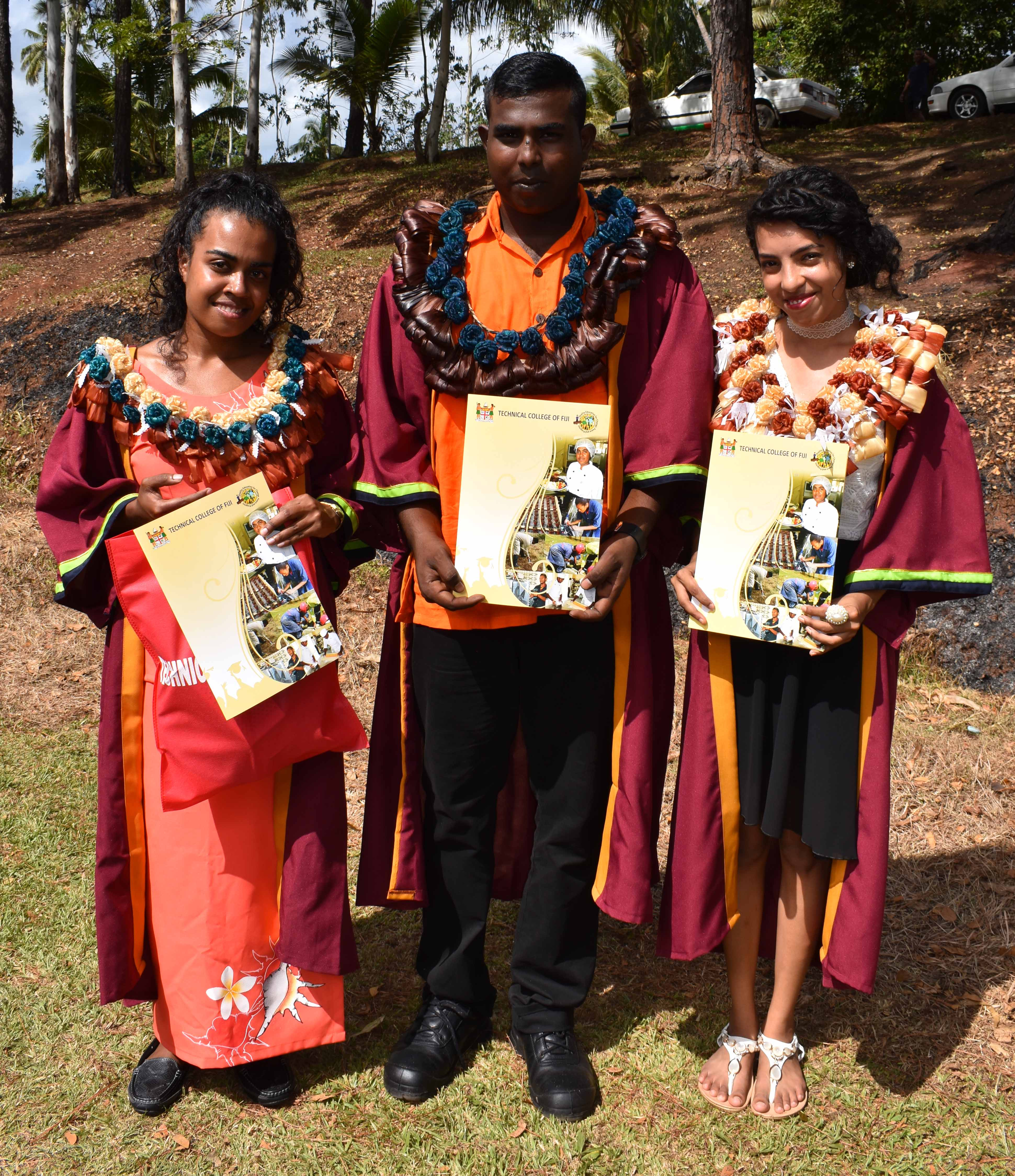 From Left: Ulamila Utonivesi, Sachin Deo and Shivangili Naidu with their National Certificate in Cookery Level Two during the Technical College of Fiji graduation at Vanua Levu Arya Campus in Labasa on July 22, 2017. Photo:SHRATIKA SINGH