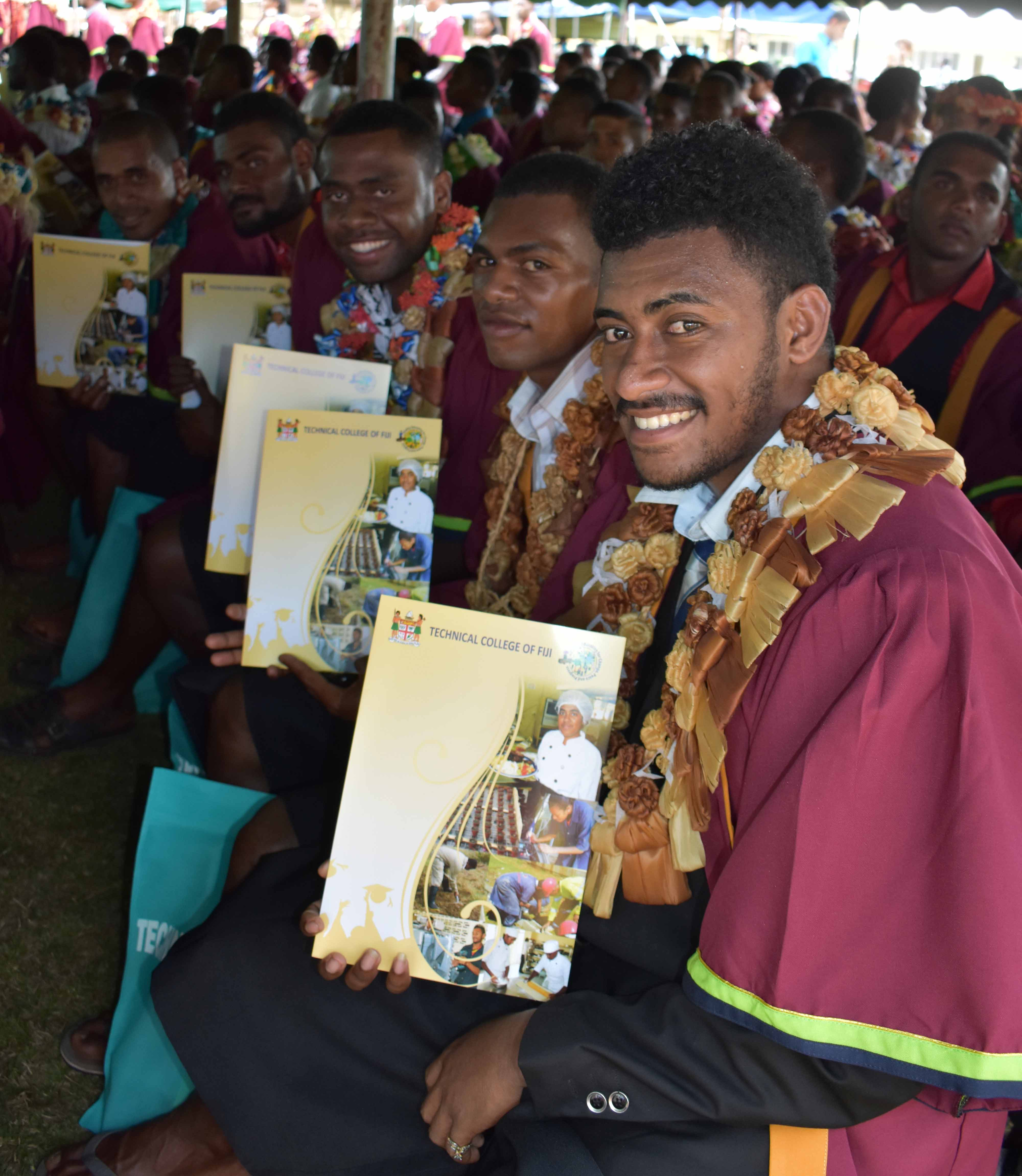 Students of Technical College of Fiji gathered during the graduation at Vanua Levu Arya Campus in Labasa on July 22, 2017. Photo:SHRATIKA SINGH