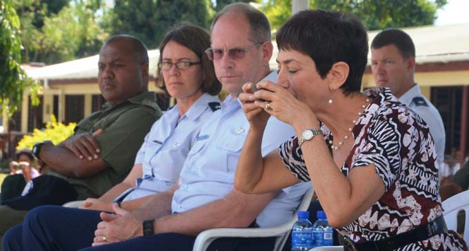 US Ambassador Judith Cefkin drinks a bowl of kava during yesterday's farewell ceremony. Looking from left: Captain Etuate Tunidau (RFMF), Captain Samantha Morrison and Brigadier-General William Burks on July 24, 2017. Photo: Charles Chambers
