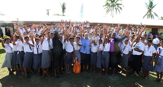 Prime Minister Voreqe Bainimarama with the students of Naiyala High School on July 24, 2017. Photo: Jone Luvenitoga