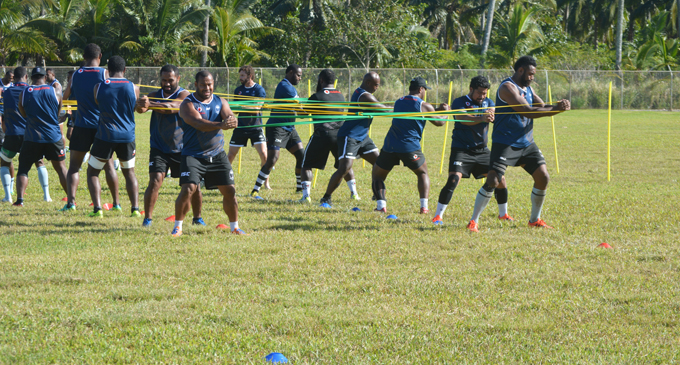 Vodafone Flying Fijians forwards during training at the LDS Liahona High School ground in Nuku'alofa, Tonga on July 5, 2017. Photo: FRU Media
