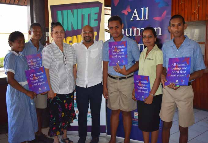 Fiji Human Rights and Anti-Discrimination Commission director Ashwin Raj (middle) with participants during the National Human Rights Commission dialogue at Friendly North Inn in Labasa on July 26. Photo:SHRATIKA SINGH