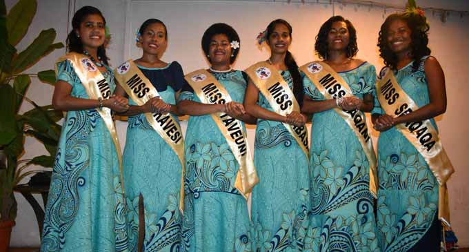 Queen contestants from left: Miss Savusavu Ilisapeci Mira, Miss Tukavesi Mere Vatuwaqa, Miss Taveuni Karalaini Seru, Miss Labasa Manisha Kumar, Miss Saqani Teresia Veitarogi and Miss Seaqaqa Maui Laisan. Photo: Josaia Ralago