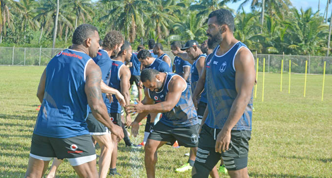 Vodafone Flying Fijians Timoci Nagusa (left), and Dominiko Waqaniburotu during training at the LDS Liahona High School ground in Nuku'alofa, Tonga on July 5, 2017. Photo: FRU Media