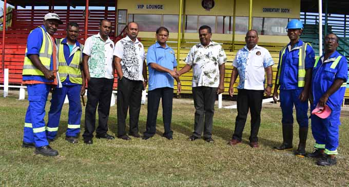 Special Administrator for Labasa and Savusavu Town Vijay Chand (fifth from left), Fiji Football Association vice-president Girja Prasad (sixth from left) and Labasa Town Council officials at Subrail Park in Labasa on July 13, 2017. Photo: Josaia Ralago