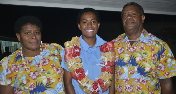 From left: Marica Rosa (mother), Luisa Tamanitokula (captain) and Makisi Tamanitokula(father) at the Fiji FA Academy in Ba on July 6, 2017. Photo: Anasilini Ratuva