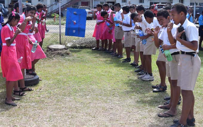 Students from various primary schools in Labasa brushing teeth to mark the National Tooth Brushing Day  at Sangam College of Nursing and Health Care Education in Labasa on July 28. Photo:SUPPLIED