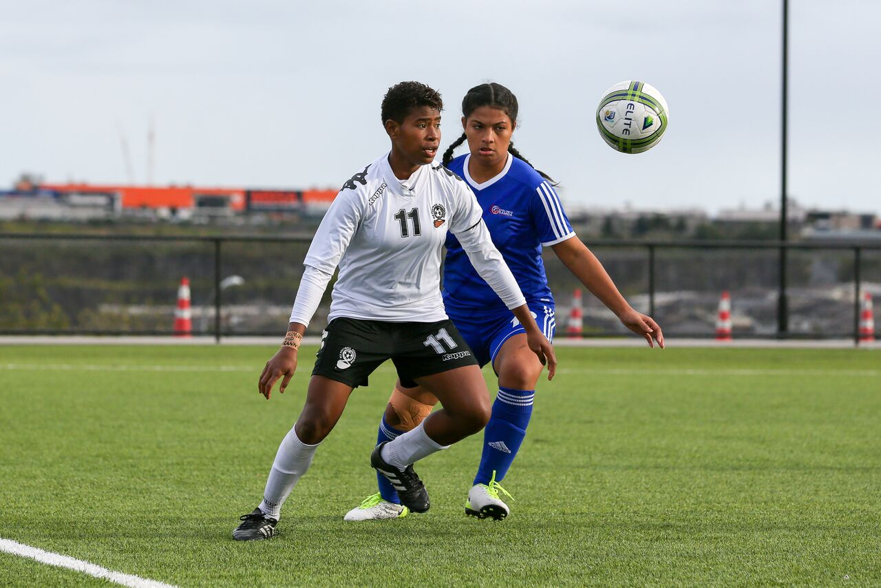 Cema Nasau in control against Samoa in the OFC U-19 Women's Championship in Ngahue, Auckland on July 17, 2017. Photo: OFC