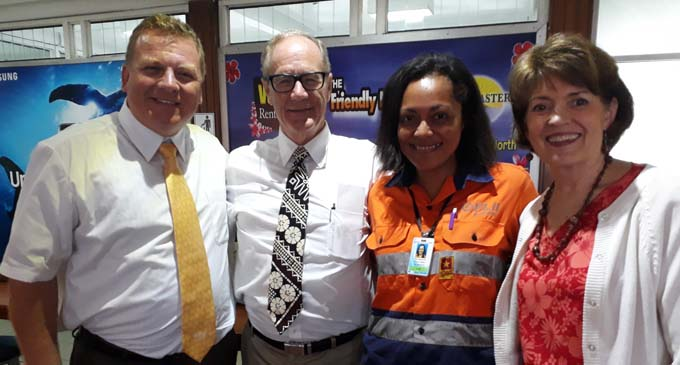President John Sears Tanner with wife Susan Tanner and Michael Carthew at Nausori Airport with Fiji Air ground crew, Vika Rakatia, the Suva Fiji North Stake Self-Reliance Specialist. The inaugural Education for Better Work / BYU-H Orientation Group was hosted by the Suva Fiji North Stake. President John Sears Tanner and Susan Tanner were the Guest of Honour at the Graduation Ceremony for the Group, which was held at the Institute Lounge and facilitated by Elder & Sis Felsman from Pocatello, Idaho. Photo: Ned Taito