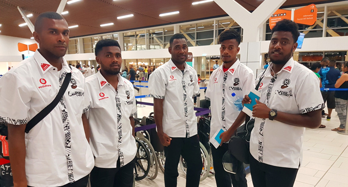 Vodafone Fijian footbal players at the Nadi International Airport on August 29, 2017. Photo: Vodafone Fiji