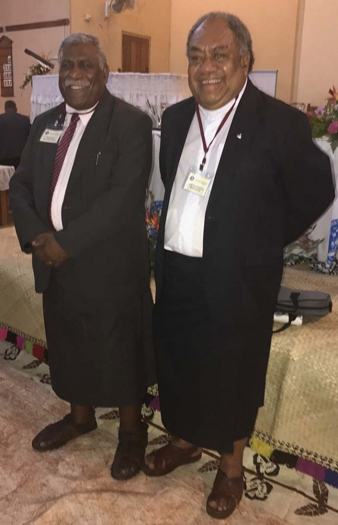 Methodist Church general secretary-elect Reverend Ili Vunisuwai (left), and president-elect Reverend Epineri Vakadewavosa in Suva on August 21, 2017. Photo: Fonua Talei
