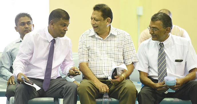 From left: National Federation Party leader Biman Prasad and unionists Rajeshwar Singh and Attar Singh during the Fijian Teachers Association 83rd annual delegates conference at Yat Sen hall on August 15, 2017.  Photo: Ronald Kumar