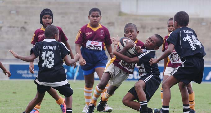 Action from the Cakaudrove - Kadavu Under-10 match at the ANZ Stadium on August 14, 2017. Photo: Jone Luvenitoga