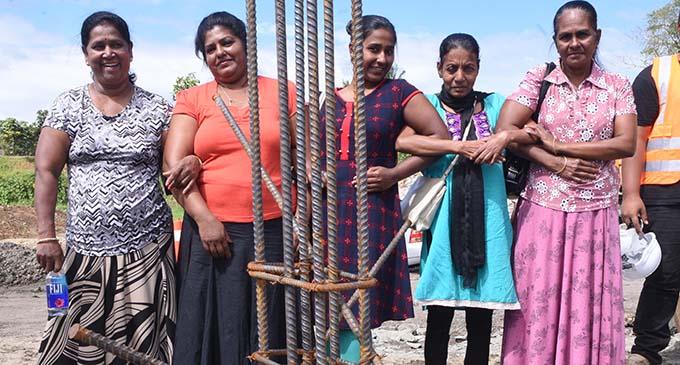 Laqere market vendors stand proud during the laying of the new market foundation on July 31, 2017. From left, Raj Mani, Pushpa Wati, Radha Chand, Susan Nirmala and Daya Wat. Photo: Jone Luvenitoga