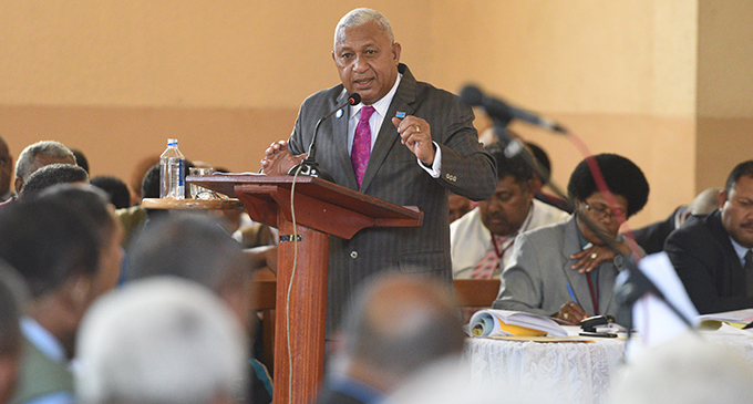 Prime Minister Voreqe Bainimarama while speaking to Methodist Church members on COP23 during the Methodist Church annual conference in Suva on August 23, 2017.  Photo: Ronald Kumar